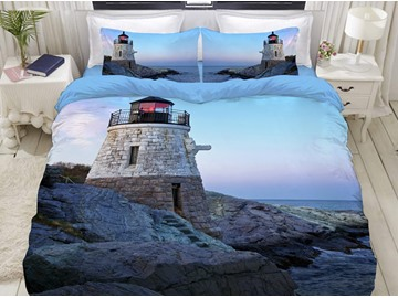 3D Lighthouse Zipper Bedding Sets 4Pcs Fade Resistant Sea Scenery Duvet Cover