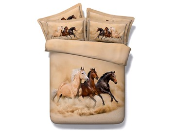 Three Running Horses 3D Printed 4-Piece Polyester Bedding Sets/Duvet Covers