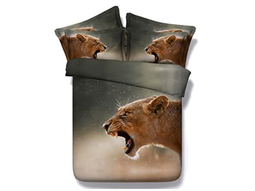 Roaring Brown Lion Printed Cotton 4-Piece 3D Bedding Sets/Duvet Covers