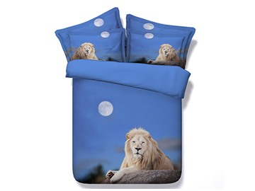 Crouching Lion under Moonlight Printed Cotton 3D 4-Piece Bedding Sets/Duvet Covers