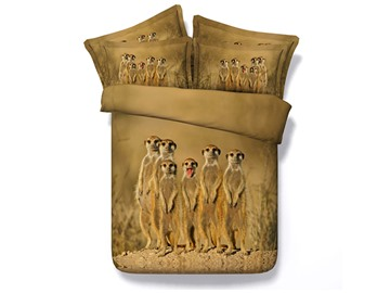 Meerkat Family Printed Cotton 4-Piece 3D Bedding Sets/Duvet Covers