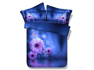 Butterflies and Daisy Printed Cotton 4-Piece Blue 3D Bedding Sets/Duvet Cover