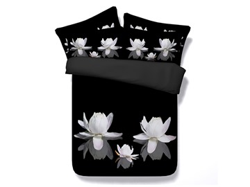 White Lotus Printed Cotton 4-Piece Black 3D Bedding Sets/Duvet Cover