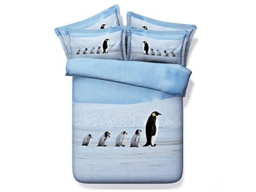 A Group of Penguins Cotton 4-Piece 3D Bedding Sets/Duvet Covers