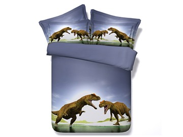 Dinosaur Printed Cotton 4-Piece 3D Bedding Sets Duvet Covers Ultra-soft Microfiber No-fading Twin Full Queen King