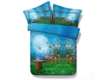 Fairyland and Butterfly under the MoonLight Printed Cotton 3D 4-Piece Bedding Sets/Duvet Covers