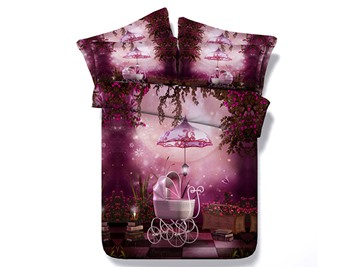 Baby Carriage and Fairy Rose Garden Printed Cotton 3D 4-Piece Purple Bedding Sets
