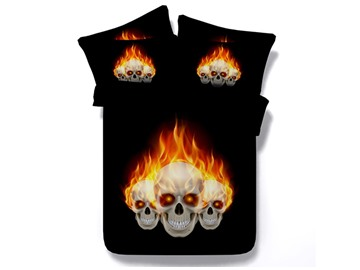 Fiery Skull Printed Cotton 4-Piece Black 3D Bedding Sets/Duvet Covers