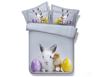 Easter Rabbit and Chick Printed Cotton 3D 4-Piece Bedding Sets/Duvet Covers