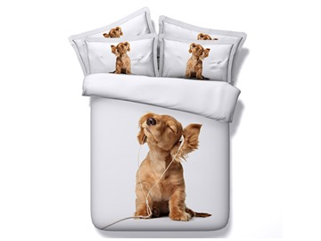 Puppy Listening to Music Duvet Cover Set Animal Printed 4-Piece White 3D Bedding Sets