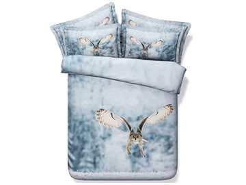 Flying Owl Printed Cotton 4-Piece 3D Bedding Sets/Duvet Covers