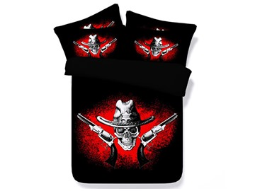Western Style Cowboy Skull Printed Cotton 3D 4-Piece Black Bedding Sets/Duvet Covers