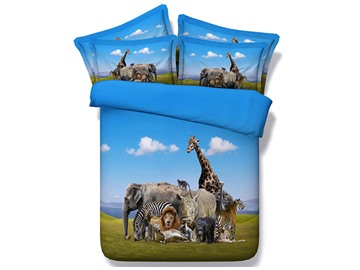 Menagerie Animal under Blue Sky Printed Cotton 3D 4-Piece Bedding Sets/Duvet Covers