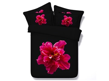 Hot Pink Flower Printed Cotton 3D 4-Piece Black Bedding Sets/Duvet Cover