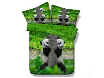Pandas Climbing Tree Printed Cotton 4-Piece 3D Bedding Sets/Duvet Covers