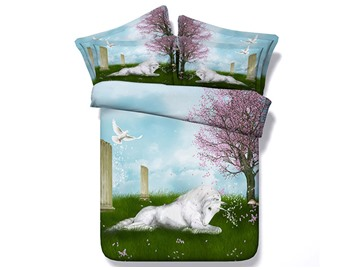White Unicorn Crouching on Grass Printed Cotton 3D 4-Piece Bedding Sets/Duvet Covers