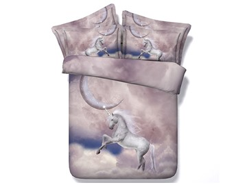 3D White Unicorn and the Moon Printed Cotton 4-Piece Bedding Sets/Duvet Covers