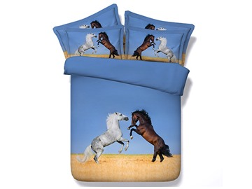 Rearing White and Brown Horses Printed Cotton 3D 4-Piece Bedding Sets/Duvet Covers