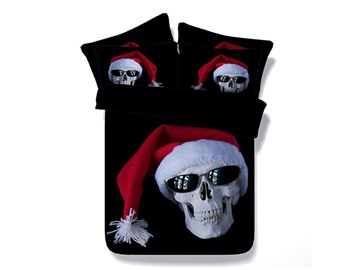 Skull with Christmas Cap Printed Cotton 4-Piece Black 3D Bedding Sets/Duvet Covers