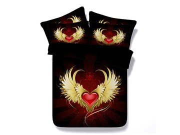 Red Heart with Wings Printed Cotton 3D 4-Piece Black Bedding Sets/Duvet Covers