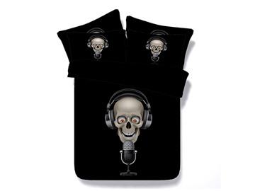 Rock Singer Skull Printed Cotton 4-Piece 3D Black Bedding Sets/Duvet Covers