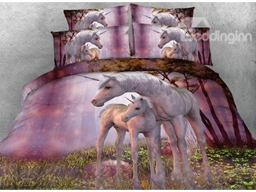 Pinky Unicorns 3D 4-Piece Animal Print Bedding Sets Polyester 800 Thread-Count