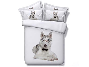 Doctor Husky Dog Printed Cotton 4-Piece White 3D Bedding Sets/Duvet Covers