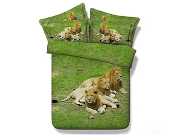Lions Crouching on Grass Printed Cotton 4-Piece 3D Bedding Sets/Duvet Covers