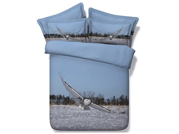 Flying Owl under Blue Sky Printed Polyester 3D 4-Piece Bedding Sets/Duvet Covers
