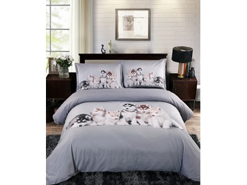 Adorable Puppies Digital Printing Gray 4-Piece Duvet Cover Sets