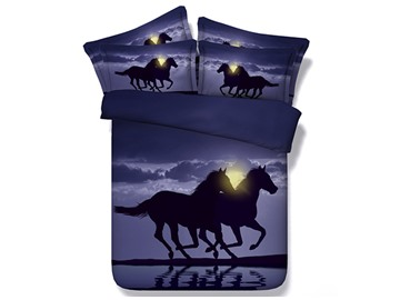 Two Running Horses Printed Cotton 4-Piece 3D Bedding Sets/Duvet Covers