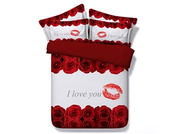 Red Roses and Lip Printed Love You Polyester 4-Piece 3D White Bedding Sets/Duvet Covers