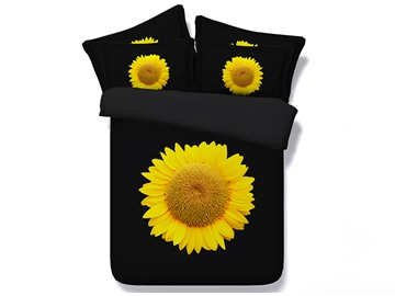 Bright Yellow Sunflower Printed Cotton 3D 4-Piece Black Bedding Sets/Duvet Covers