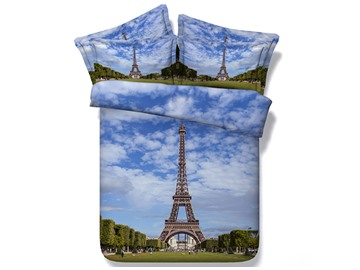 3D Paris Eiffel Tower under Blue Sky Printed Cotton 4-Piece Bedding Sets