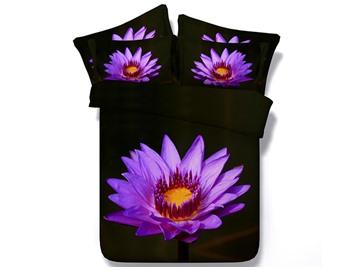 Blooming Purple Flower Printed Cotton 4-Piece 3D Bedding Sets/Duvet Cover