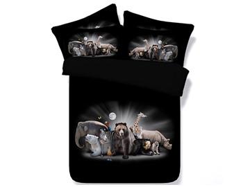 Group Animals Printed Cotton 4-Piece Black 3D Bedding Sets/Duvet Covers