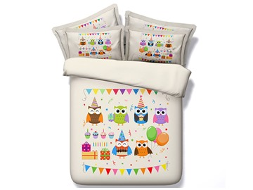 Cartoon Owl and Balloons Printed Cotton 4-Piece 3D Bedding Sets/Duvet Covers