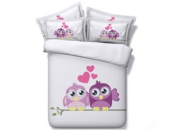 Cartoon Owl Printed Cotton 4-Piece White 3D Bedding Sets/Duvet Covers