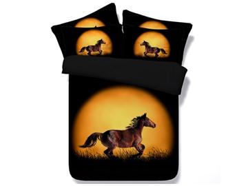 3D Running Horse Printed Cotton 4-Piece Black Bedding Sets/Duvet Covers