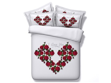 Heart-Shaped Red Roses Printed Cotton 4-Piece White 3D Bedding Sets/Duvet Cover