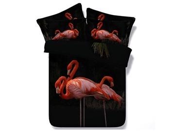 Pink Flamingo Printed Cotton 4-Piece Black 3D Bedding Sets/Duvet Covers