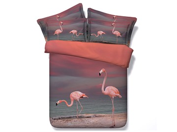Pink Flamingo Printed Cotton 3D 4-Piece Bedding Sets/Duvet Covers