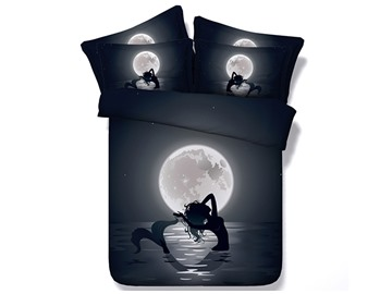 Mermaid in the Moonlight Printed Polyester 4-Piece 3D Black Bedding Sets/Duvet Covers