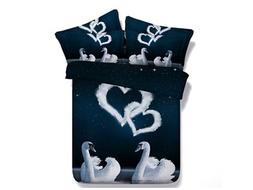 White Swans Couple and Heart-Shaped Clouds Printed Cotton 3D 4-Piece Bedding Sets