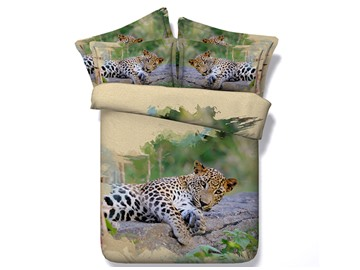 3D Vigorous Leopard Printed Cotton 4-Piece Bedding Sets/Duvet Covers