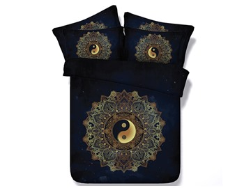 Yin Yang Printed Cotton 4-Piece Black 3D Bedding Sets/Duvet Covers