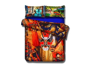 Splendid Theatrical Mask Print 4-Piece Cotton Duvet Cover Sets