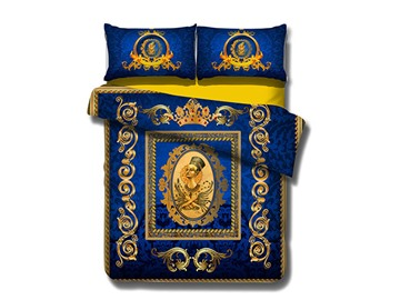 Noble Queen Print Blue 4-Piece Cotton Duvet Cover Sets
