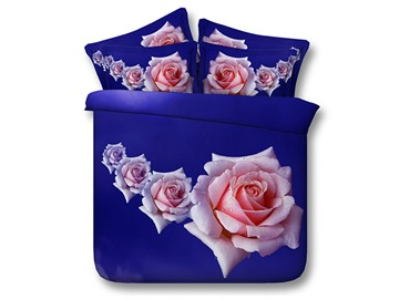 Pink Roses Printed Cotton 4-Piece Blue 3D Bedding Sets/Duvet Covers