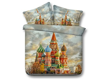 Saint Basil's Cathedral Printed Cotton 4-Piece 3D Bedding Sets/Duvet Covers